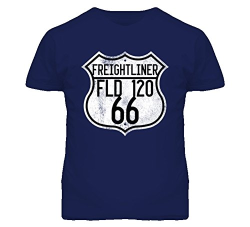 Freightliner FLD 120 Route 66 Highway Sign Distressed Look Trucker T Shirt L (Freightliner Apparel)