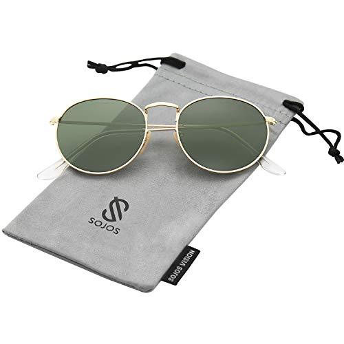 SOJOS Small Round Polarized Sunglasses Mirrored Lens Unisex Glasses SJ1014 3447 with Gold Frame/G15 Polarized Lens