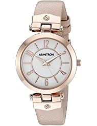 Armitron Womens 75/5338MPRGBH Rose Gold-Tone and Blush Pink Leather Strap Watch