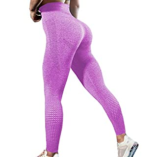 GILLYA Gym Vital Seamless Leggings for Women High Waisted Seamless Butt Leggings with Tummy Control Seamless Yoga Leggings (Pink, L)