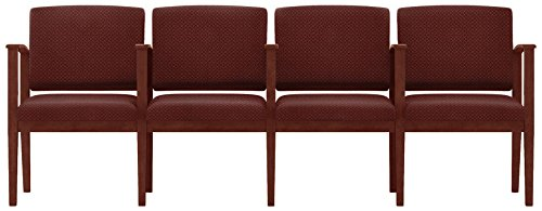 Lesro Amherst Wood 4 Seats with Center Arms in Mahogany Finish, Axis Paprika - Lesro Four Seat