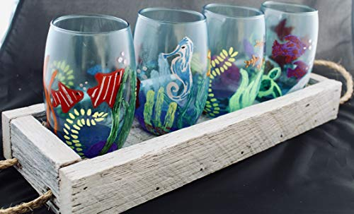 Hand-Painted Tropical Stemless Glass Set with Rope Handle Tray
