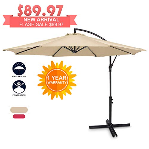 FRUITEAM Patio Umbrellas Cantilever Umbrella Offset Hanging Umbrellas 10 FT Outdoor Market Umbrella with Crank & Cross Base for Garden, Deck, Backyard, Pool and Beach, Waterproof, Beige