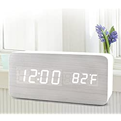 Wooden LED Digital Alarm Clock, Dual Power Supply Clocks with 3 Set of Alarm, Sound Control, Loud Electric Desk Clock for Home, Office, Travel, Bedrooms, Kids