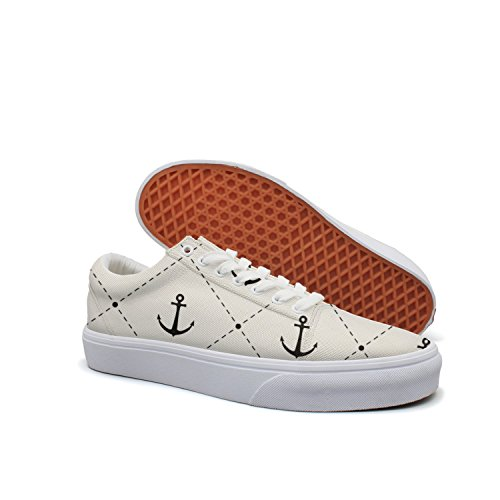 - VCERTHDF Print Trendy Anchors Pattern Low Top Canvas Sneakers