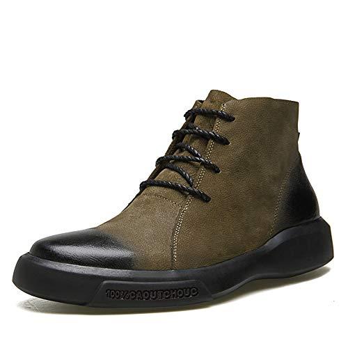 - Men's Casual Fashion Martin Boots Cowhide Vintage wear-Resistant Ankle Boots Non-Slip Work Boots(Khaki & 41/7.5 D(M))
