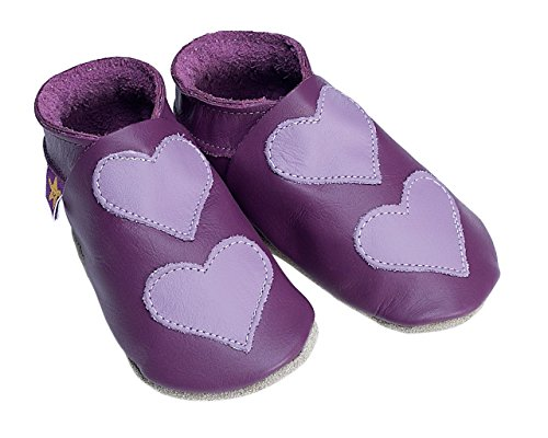 Lovehearts trauben und lila starchild weiche lederne Babyschuhe (Klein 0-6 monate EU 18 UK 2) LyTWF7jPU