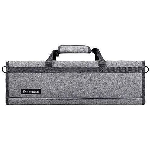 Messermeister 8 Pocket Felt Knife Storage Roll/Bag/Luggage - Heather Gray ()