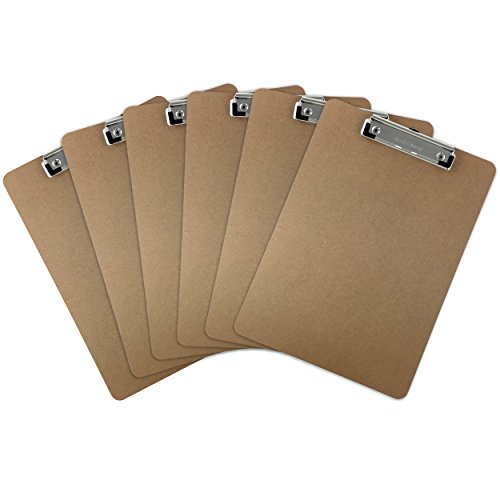 Trade Quest Letter Size Clipboard Low Profile Clip Hardboard (Pack of 6)