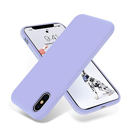 OTOFLY Liquid Silicone Gel Rubber Full Body Protection Shockproof Case for iPhone Xs/iPhone X,Anti-Scratch&Fingerprint Basic-Cases,Compatible with iPhone X/iPhone Xs 5.8 inch (2018), (Light Purple) (Iphone X Case Best Protection)
