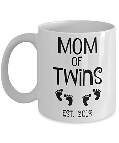 - Twin Mom Mug - Mom of Twins Est 2019 Coffe Cup - New Mommy Mother's Day - Birthday - Christmas Stocking Stuffer - Expecting Parents Gifts