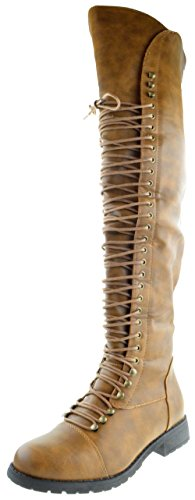 (Travis 05 Women Military Lace Up Thigh High Combat Boot Tan 10)