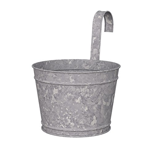 Panacea 83230 8 inch Dia. Over-The-Rail Planter, Aged Galvanized Finish (Wicker Traditional Planter)