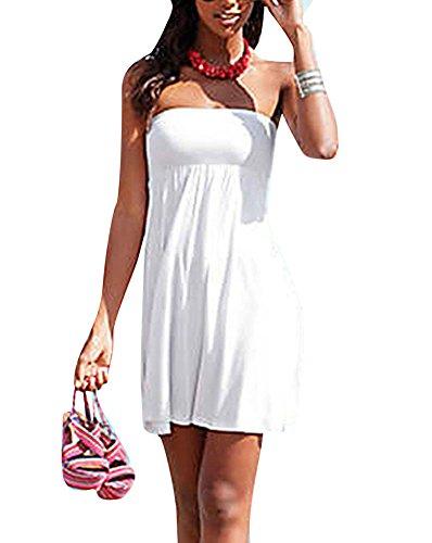 Vestido Para Mujeres Envuelto Pecho Color Sólido Respirable Traje De Baño Vestidos Playa Blanco