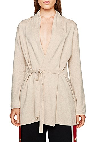Forest Kiss Women's Long Sleeve Open Front Draped Cardigan Lightweight Knit Sweater With Belt Beige (Belted Cardigan Sweater)