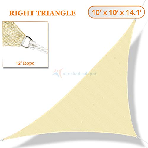 Sunshades Depot 10 x 10 x 14.1 Sun Shade Sail Right Triangle Permeable Canopy Tan Beige Custom Size Available Commercial Standard