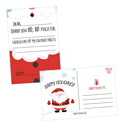 25 Christmas Holiday Kids Thank You Cards, Santa Fill In the Blank Thank You Notes, Personalized Card For Birthday Party or Christmas Gifts, Stationery For Children Boys and Girls