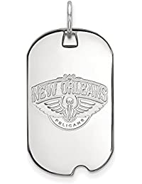 NBA New Orleans Pelicans Small Dog Tag Pendant in Rhodium Plated Sterling Silver