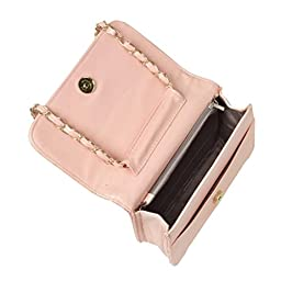 BMC Womens Peach PU Faux Leather Diamond Quilted Pattern Mini Handbag Shoulder Strap Clutch
