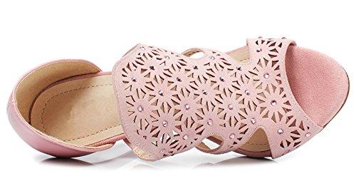 Lizform Mujer Cutouts Open Toe Sandalias De Noche Comfort Tacones Floral Embellished Club Tacones Zapatos Pink