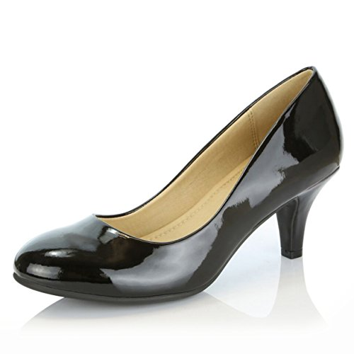 DailyShoes Women's Comfortable Elegant High Cushioned Casual Low Heels Formal Office Lady Round Toe Stiletto Pumps Shoes, Black Patent Leather, 9 B(M) (Leather Casual Low Black Shoe)