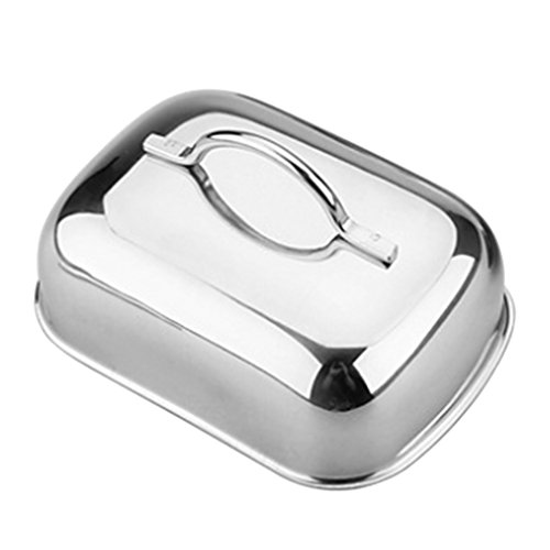 Fenteer Butter Dish Holder Box Stainless Steel Airtight Butter Keeper Container for Countertop or Fridge
