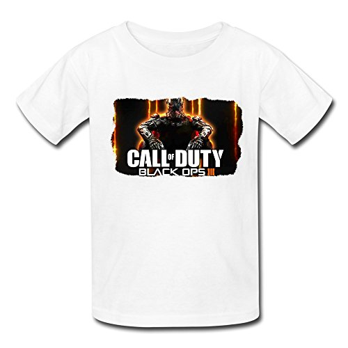 LR Cod Call Of Duty Black Ops 3 T Shirt For Kids Big Girls'tee Shirt White S