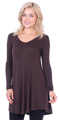 5bf104f7dc7 Popana Women s Tunic Tops for Leggings Long Sleeve Shirt Plus Size Made in  USA Medium Brown