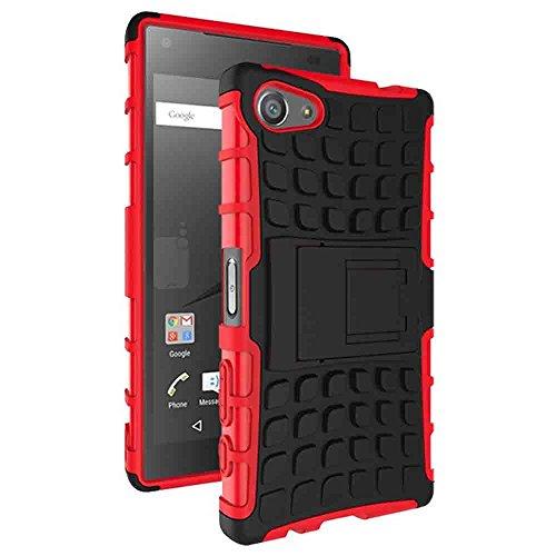 MTP Sony Xperia Z5 Compact E5803, E5823 Anti-Slip Hybrid Hülle, Schale, Schutzhülle, Handyschale mit Standfunktion - Schwarz / Rot