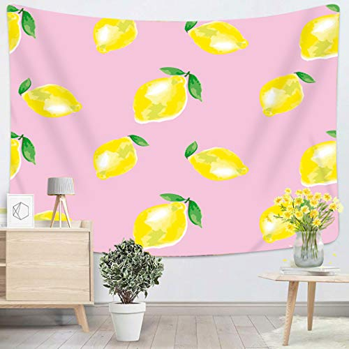 Houlor Tapestry Wall Hanging Pink Pale Watercolour Lemon Vivid on Rosy Color Watercolor Citrus Fruit Green Art Chakra Polyester Home Decorations for Bedroom Dorm Decor 60 x 80 Inches