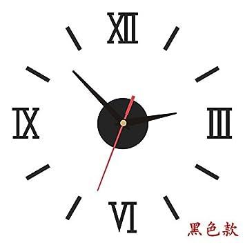 Komo Reloj de pared creativo arte romano-reloj de cuarzo de mesa elegante salón ultra silencioso pegar Reloj de pared, 16 pulgadas, negro: Amazon.es: Hogar
