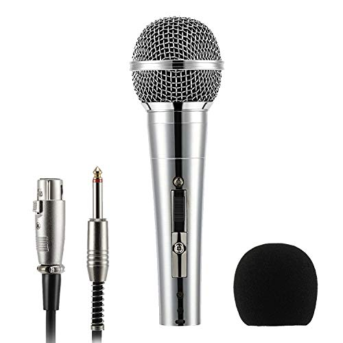 Moukey Dynamic Microphone, MWm-3 Multipurpose Metal Wired Cardioid Handheld Mic with Switch 16.40 ft XLR Detachable Cable for Singing, Karaoke Machine, Vocal, Party, Stage, Podcast