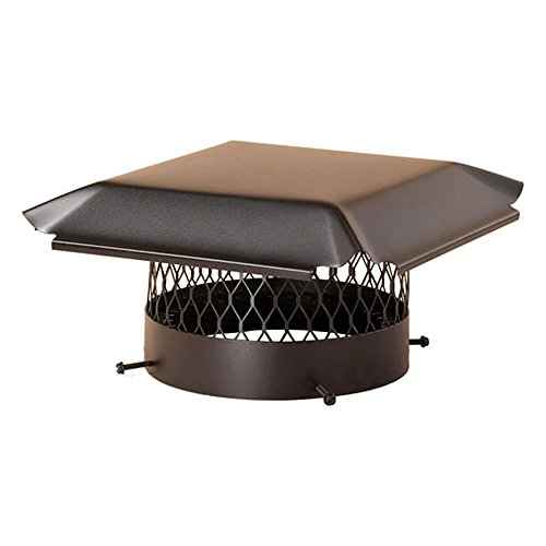 King Single Black Draft (Draft King CBO14 Round Bolt On Black Galvanized Steel Single Flue Chimney Cap, 14