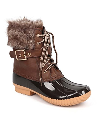 Women's Waterproof Rain Booties Duck Padded Mud Rubber Snow Faux Fur Lace Up Ankle Boots Brown 9
