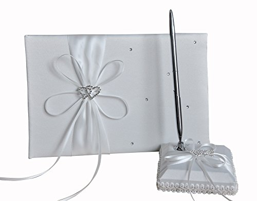 he andi 1 Wedding Guest Book + 1 Pen Set Decor Red Ribbon Bowknot, Double Heart Diamante Crystal Rhinestone Buckle (white)