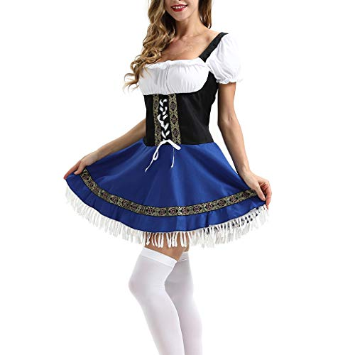 Mikilon Women's Oktoberfest Costume Bavarian Beer Girl Maid Dress Halloween Costume Blue -