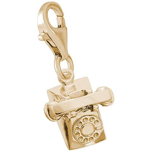 (Rembrandt Charms Telephone Charm with Lobster Clasp, 10K Yellow Gold)