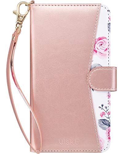 (ULAK Wallet Case for Apple iPhone Xs Max (2018), PU Leather Credit Card Holder Case 3 Card Slots 1 Cash Slot, Flip Kickstand Wrist Strap Folio Heavy Duty Protection Case (Rose Gold Floral))