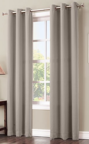 Sun Zero Easton Blackout Energy Efficient Curtain Panel, 40″ x 84″, Stone Beige