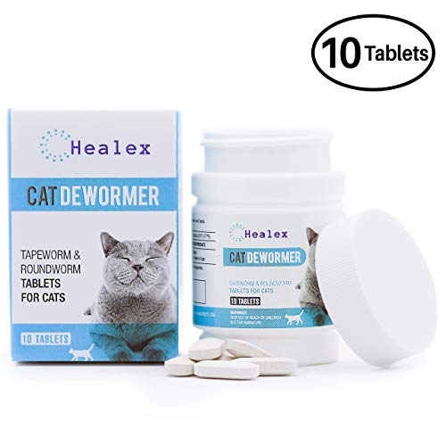 10 Tablets Healex Cat Dewormer Tablets for Cats with Tapeworm and Roundworm | Works for Kittens | Helpful E-Book Included   ()