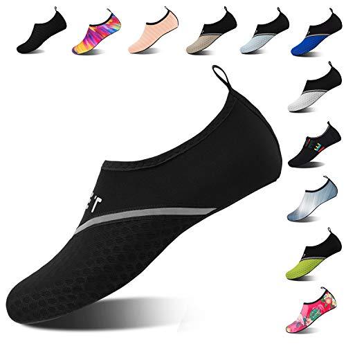 Mens Womens Water Shoes Barefoot Beach Pool Shoes Quick-Dry Aqua Yoga Socks for Surf Swim Water Sport (Black Black, 40/41EU) -