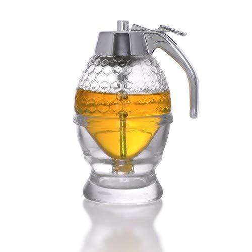 No Drip Honey Dispenser with Stand - Modern Reusable Honey Jar Dispenser - No Mess Bottom Bee Honey Syrup Dispenser Server Drip Free - 8 oz BPA Plastic Honey Holder Dispenser with Coaster