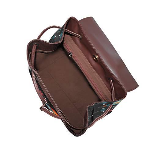 Stor färgglad filt ryggsäck handväska mode PU-läder ryggsäck ledig ryggsäck för kvinnor