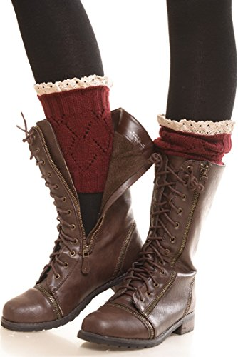 ICONOFLASH Women's Short Leg Warmer Boot Cuffs, (Crimson Merlot)