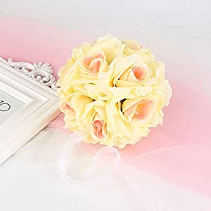 dfnbrhg 1pcs 【Decoration Artificial Flowers】 15CM Colorful Artificial Silk Rose Flower Kissing Ball for Wedding,Party,Home Decoration,Birthday, Table and Wall Celebrations by 3