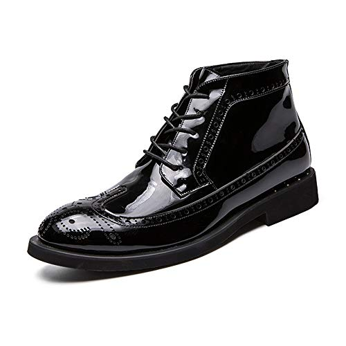 Boots Dockers Shoes - Hilotu Men's Fashion Ankle Work Boot Casual Autumn and Winter Classic Carved Patent Leather Brogue High Top Dress Shoes (Color : Black, Size : 9 D(M) US)