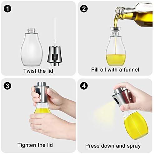 Aceitera Spray Oil Sprayer 200 ml Vinagre//Aceite de Oliva con Embudo Acero Inoxidable Botella de Vidrio para Cocinar m/ás Sano Ensalada,Plancha AJOXEL Pulverizador Aceite Dispensador de Aceite