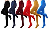 HeyUU Women's Semi Opaque Solid Color Soft Footed Pantyhose Tights 2 Pack (6 Pairs-Black/Dark Blue/ Burgundy/Red/Mustard/Royal Blue)
