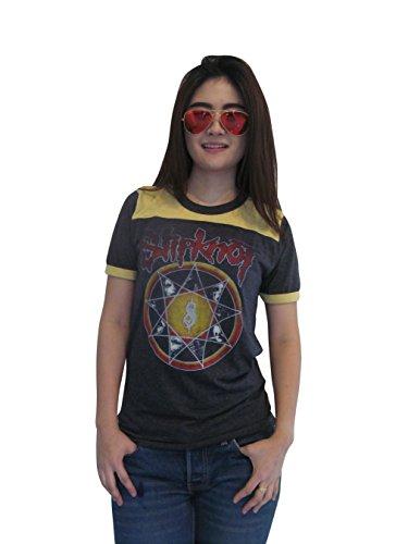 Bunny Brand Women's Slipknot Subliminal Verses Tour Ringer T-Shirt (Large) -