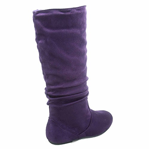 Top Moda Data-1 Damenschuhe Cute & Comfort runde Zehe flache Ferse Slouchy Mitte Kalb Boot Lila